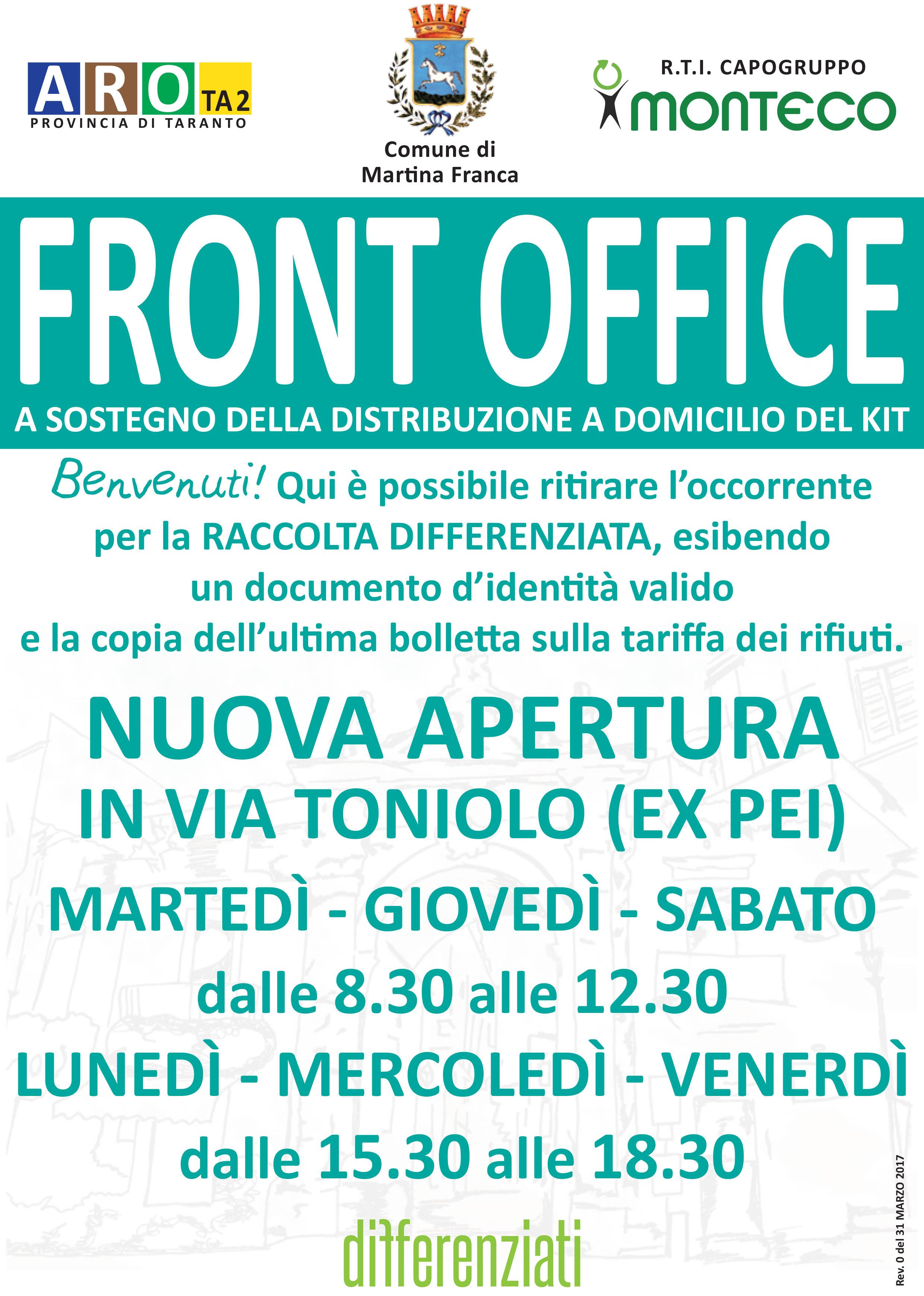 Martina Franca: Apertura di un nuovo Front Office in Via Toniolo (ex PEI)