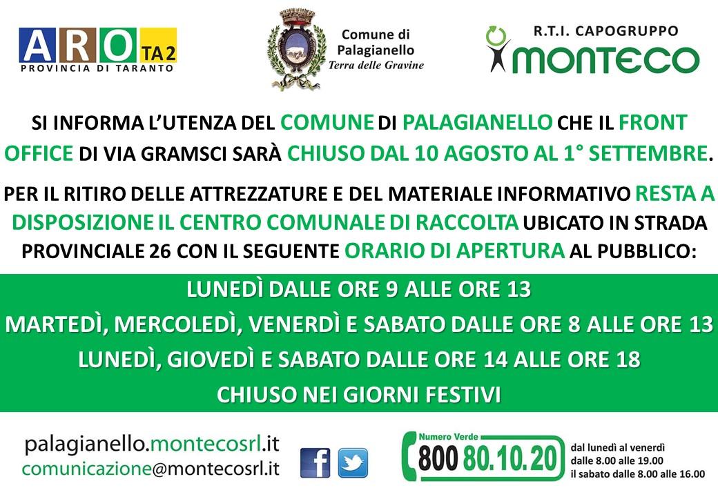 Palagianello: chiusura Front Office dal 10 agosto al 1° settembre