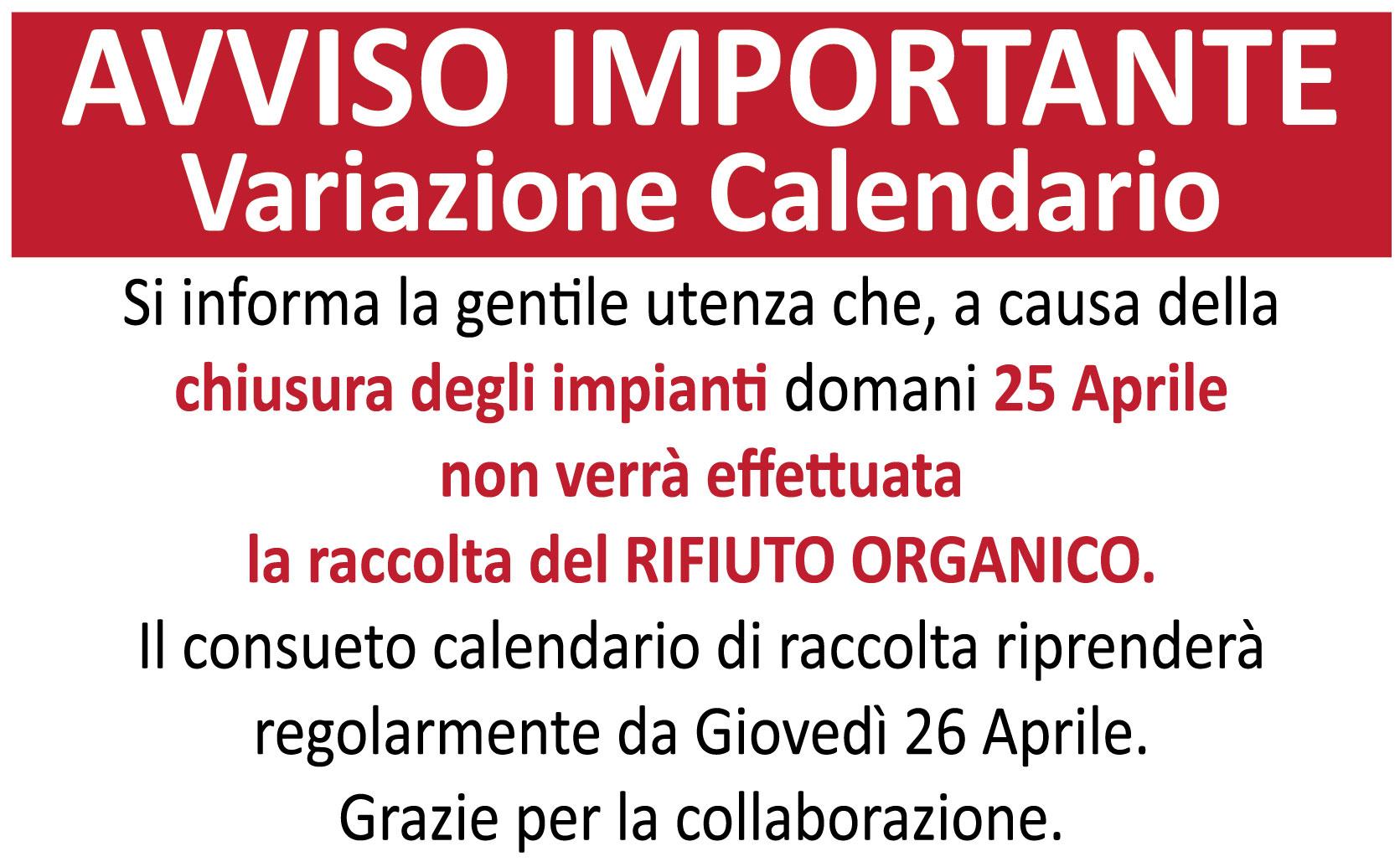 avviso variazione calendario di raccolta