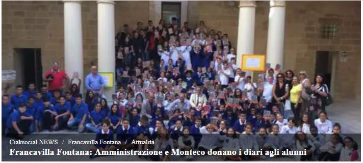 Francavilla Fontana: Amministrazione e Monteco donano i diari agli alunni