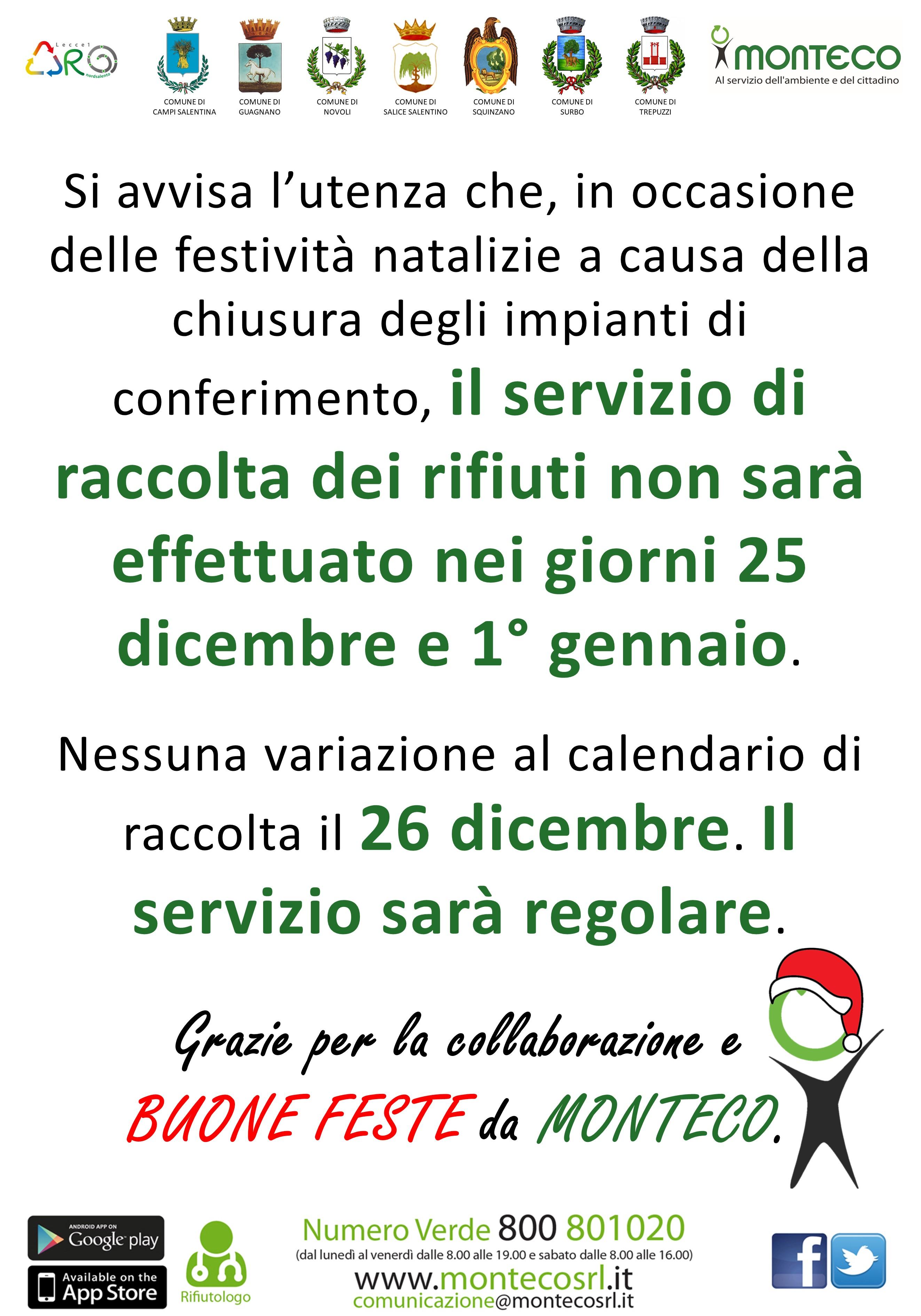 ARO LE/1: variazione calendario di raccolta in occasione delle festività natalizie