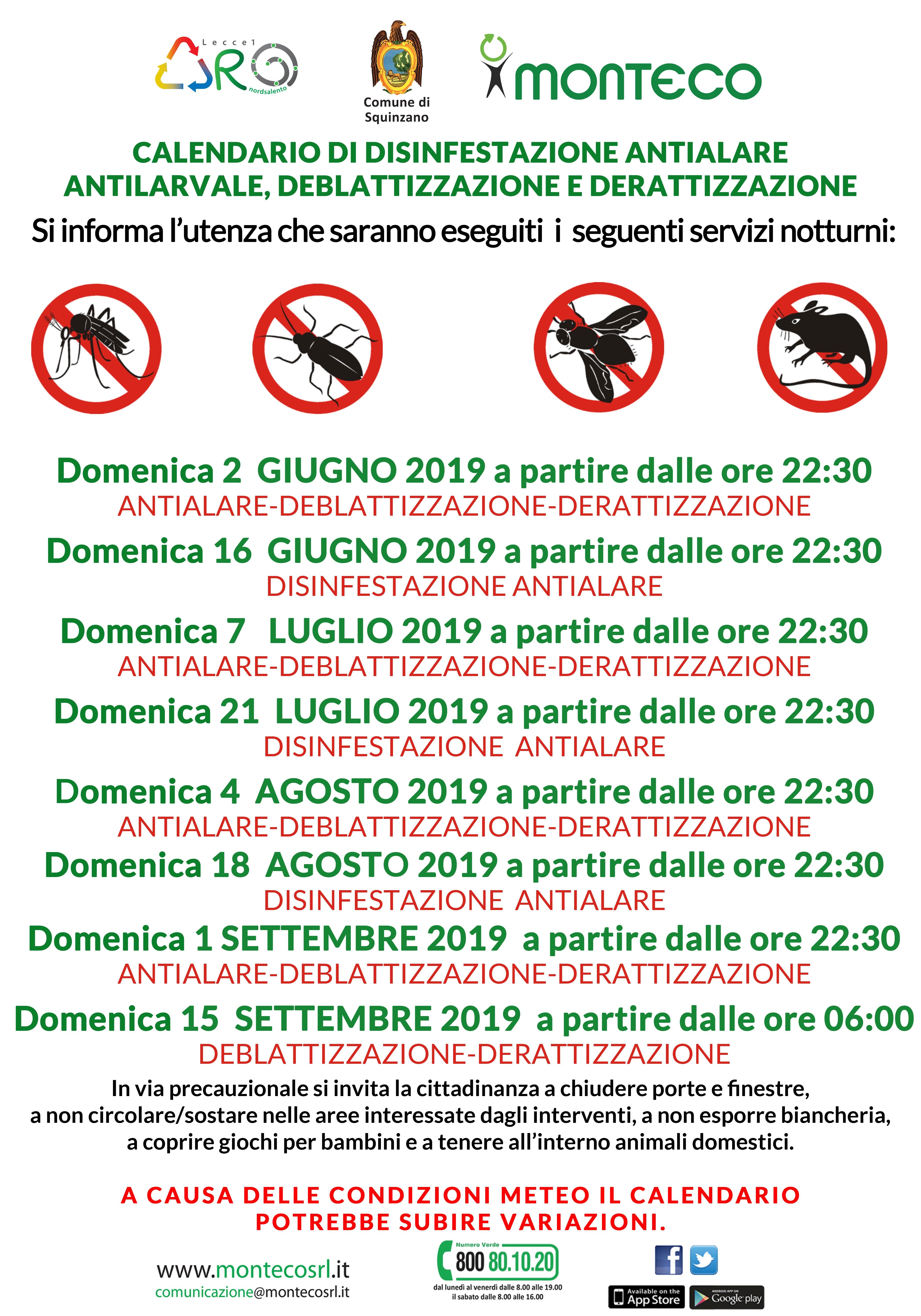 Squinzano, Calendario di disinfestazione antialare antilarvare, deblattizzazione, derattizzazione