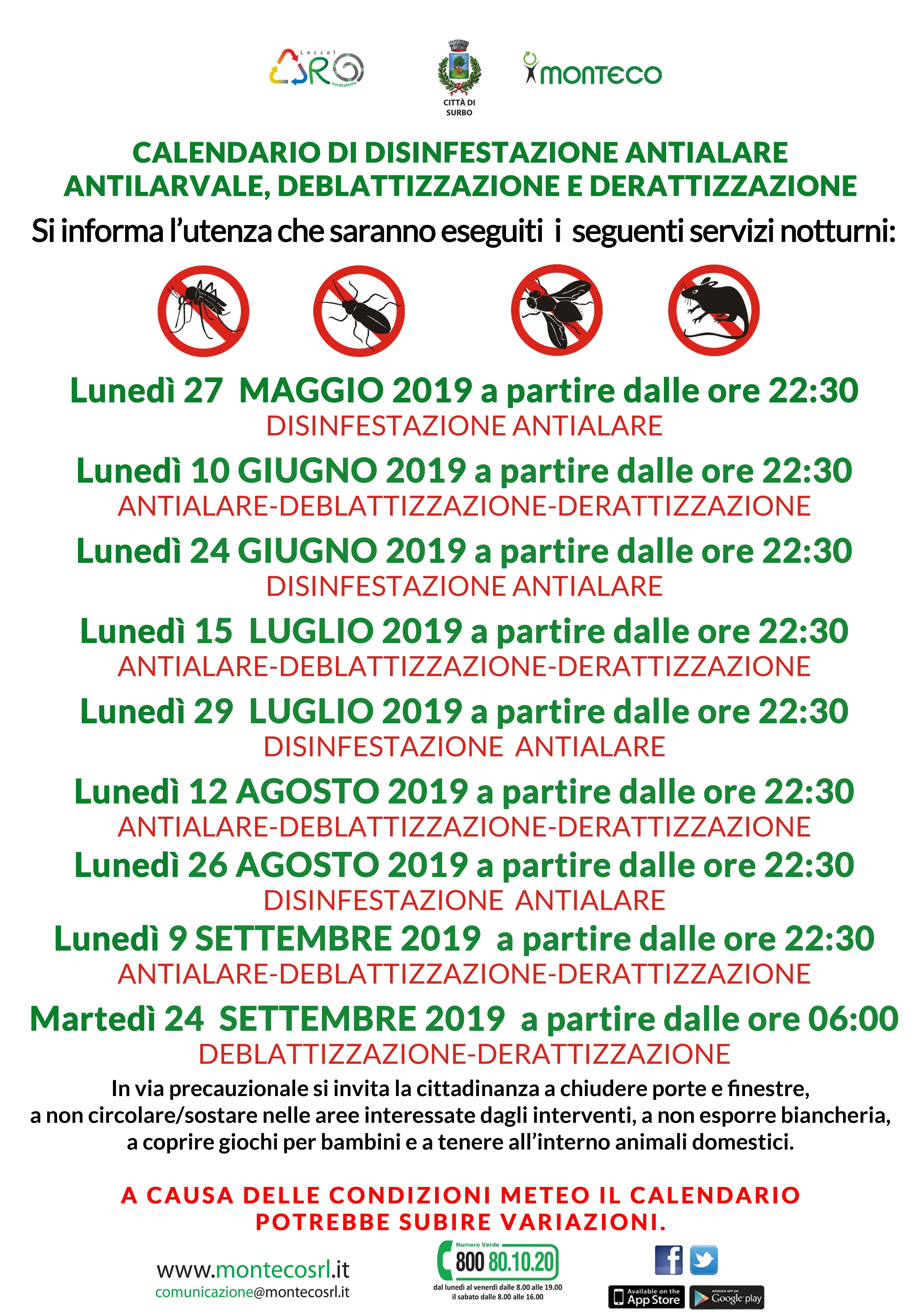 Surbo, Calendario di disinfestazione antialare antilarvare, deblattizzazione, derattizzazione